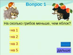 Вопрос 1 На сколько грибов меньше, чем яблок? подсказка