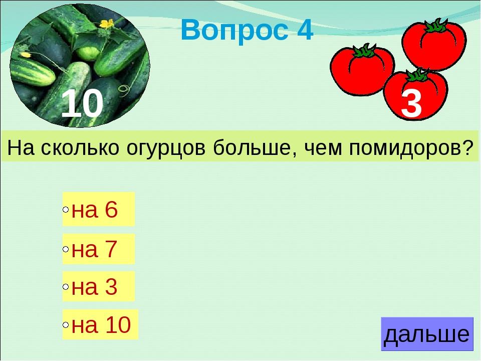Вопрос 4 На сколько огурцов больше, чем помидоров? 10 3