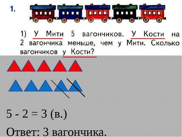 5 - 2 = 3 (в.) Ответ: 3 вагончика.