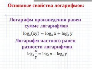Основные свойства логарифмов: Логарифм произведения равен сумме логарифмов Л