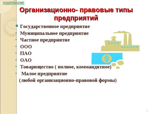 Государственное предприятие Муниципальное предприятие Частное предприятие ООО...