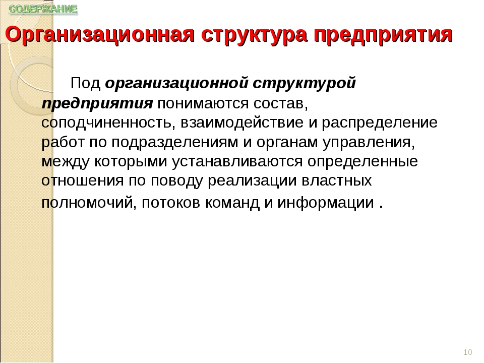 Организационная структура предприятия Под организационной структурой предпр...
