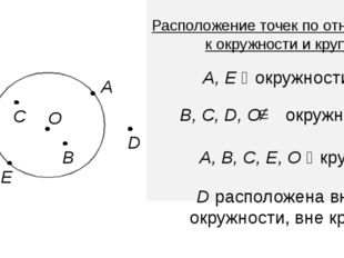 В D А C O Е А, Е ϵ окружности В, С, D, О окружности А, В, С, Е, О ϵ кругу D