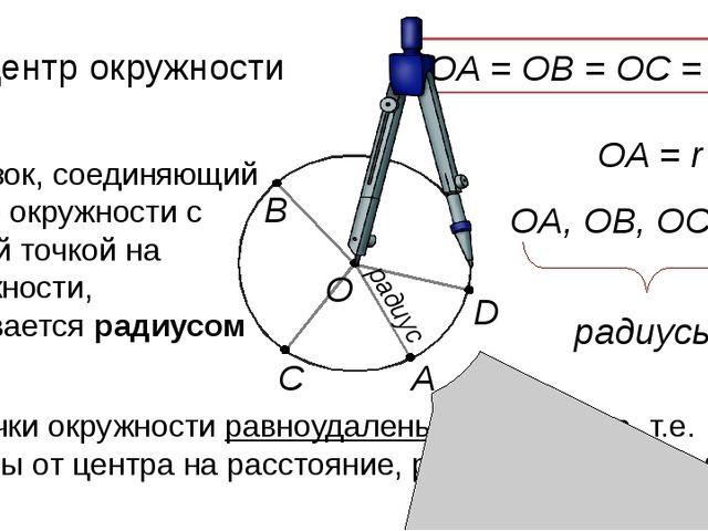 А радиус О О – центр окружности Отрезок, соединяющий центр окружности с любо...