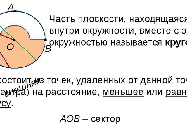 внутренняя Круг состоит из точек, удаленных от данной точки (его центра) на р...