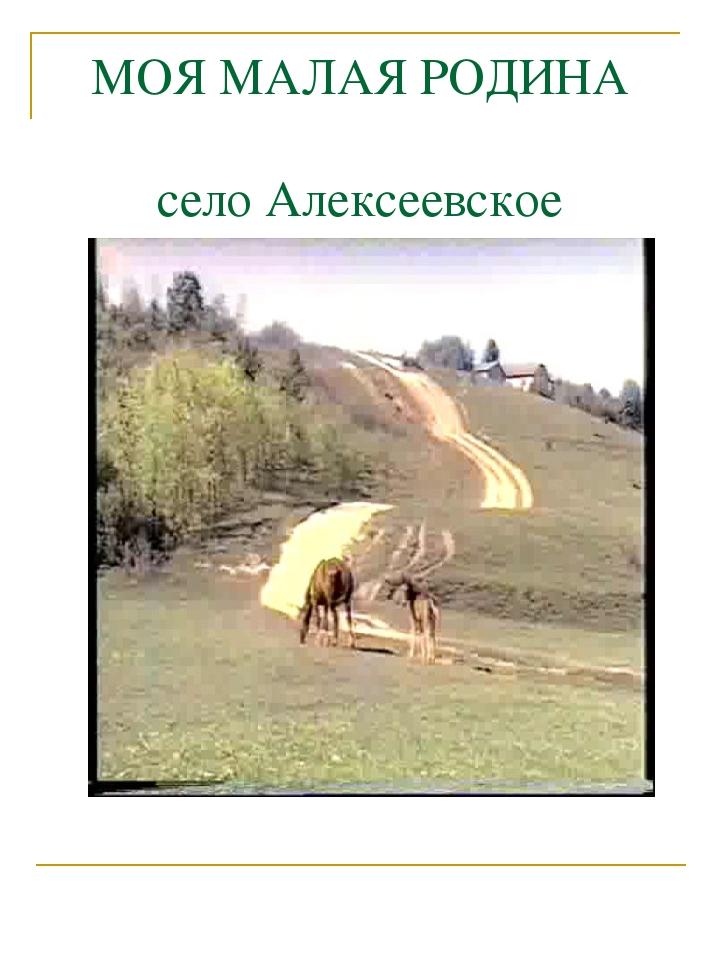 МОЯ МАЛАЯ РОДИНА село Алексеевское