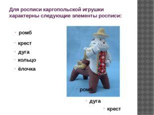 Для росписи каргопольской игрушки характерны следующие элементы росписи: ромб
