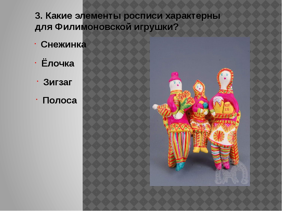 3. Какие элементы росписи характерны для Филимоновской игрушки? Снежинка Ёлоч...