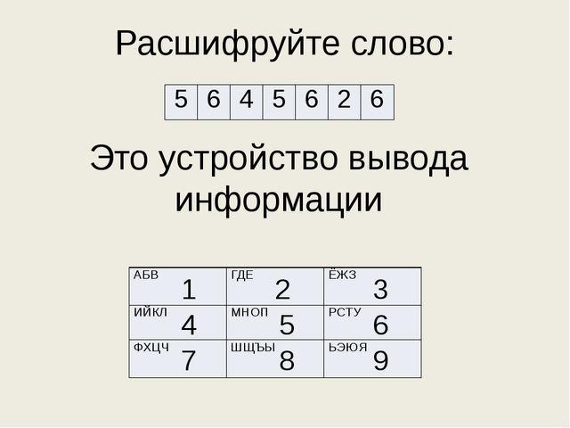 Расшифруйте слово: Это устройство вывода информации 1 3 2 4 5 7 6 8 9 АБВ ГДЕ...