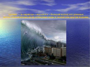 Цунами — (в переводе с японского – большая волна) это длинные волны, возника