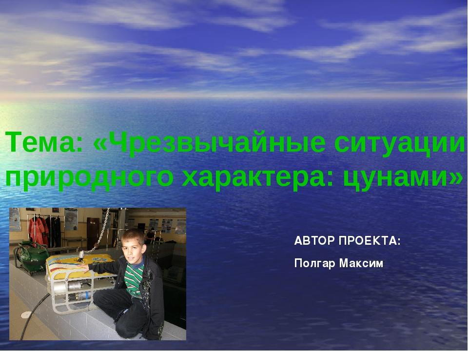 Тема: «Чрезвычайные ситуации природного характера: цунами» Полгар Максим АВТО...