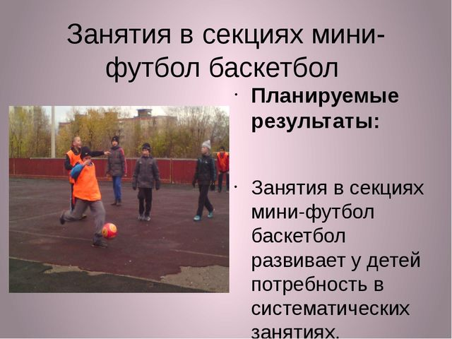 Занятия в секциях мини-футбол баскетбол Планируемые результаты: Занятия в сек...