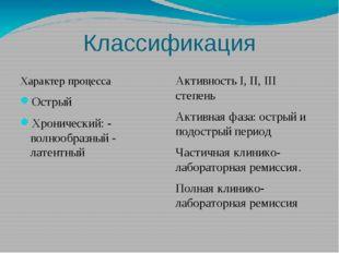 Классификация Характер процесса Острый Хронический: - волнообразный - латентн
