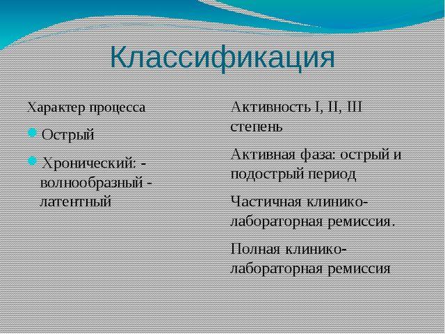Классификация Характер процесса Острый Хронический: - волнообразный - латентн...