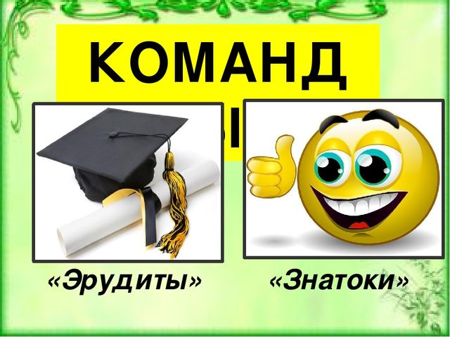 КОМАНДЫ «Эрудиты» «Знатоки»