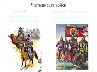 Мамай Собрал войско в 100-120 тысяч человек. Дмитрий Иванович Собралось от 10