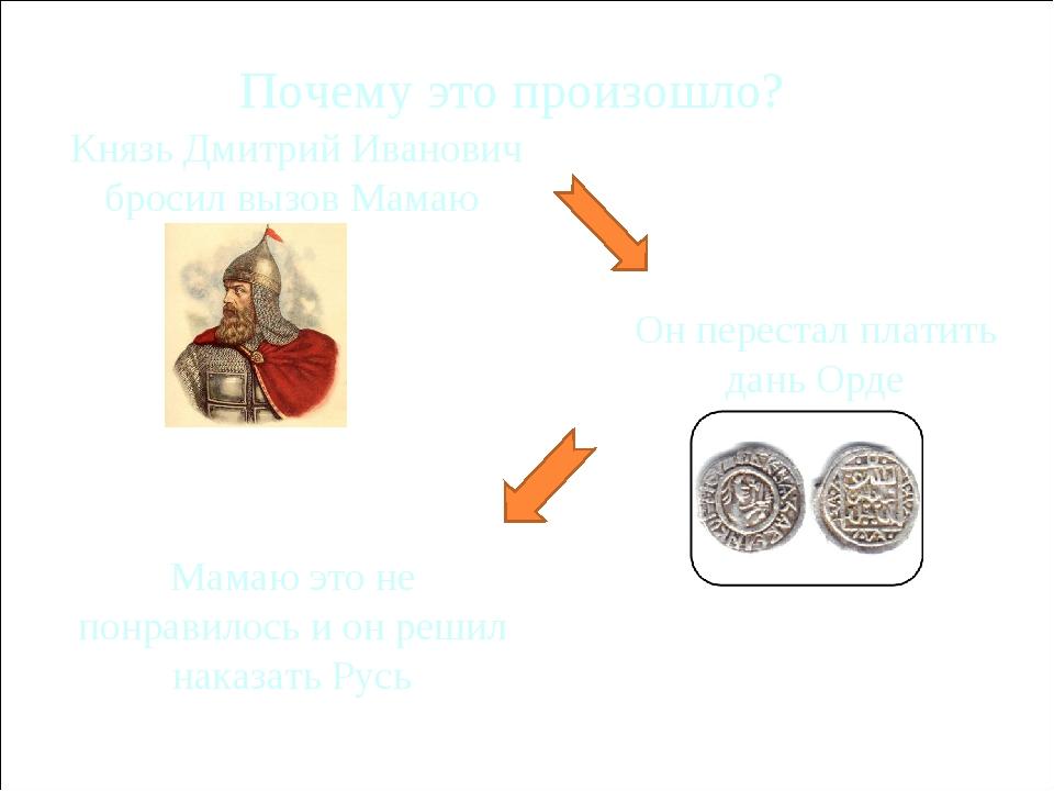 Почему это произошло? Князь Дмитрий Иванович бросил вызов Мамаю Мамаю это не...