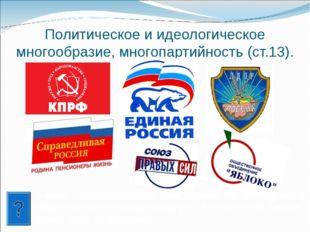 Политическое и идеологическое многообразие, многопартийность (ст.13). В каких