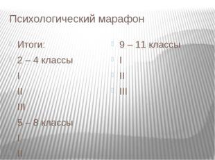 Психологический марафон Итоги: 2 – 4 классы I II III 5 – 8 классы I II III 9