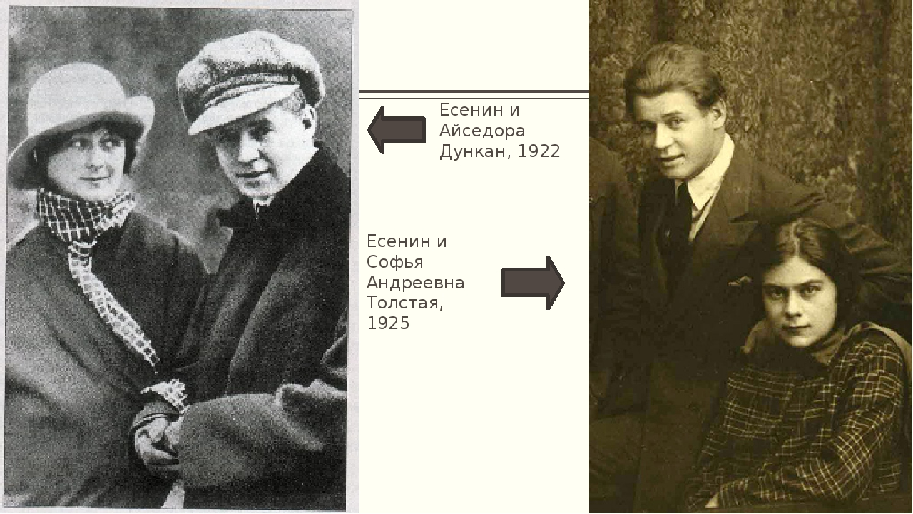 Есенин и Айседора Дункан, 1922 Есенин и Софья Андреевна Толстая, 1925