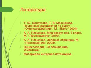 Литература Т. Ю. Целоусова, Т. В. Максимова. Поурочные разработки по курсу «О