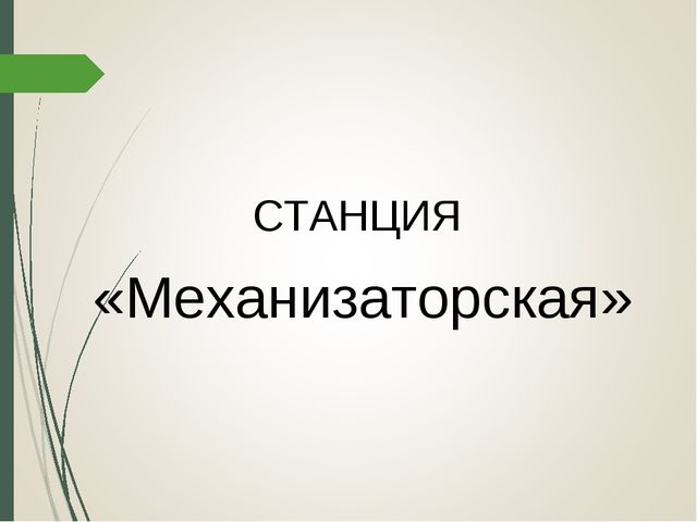 СТАНЦИЯ «Механизаторская»