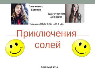 Приключения солей Литвиненко Евгения Драголовская Джессика Учащиеся МБОУ СОШ