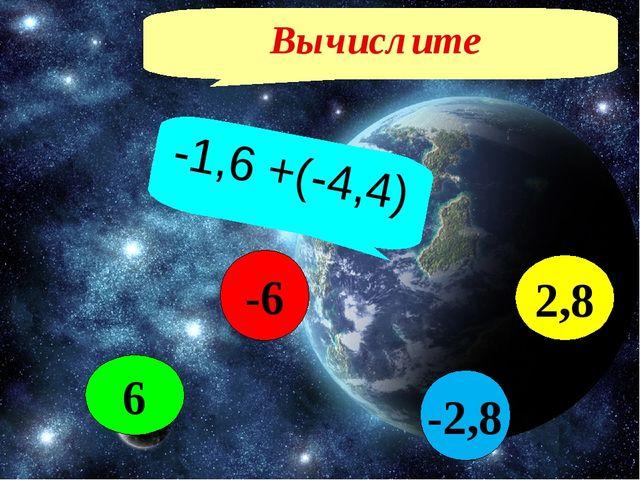 Вычислите -1,6 +(-4,4) -2,8 2,8 6 -6