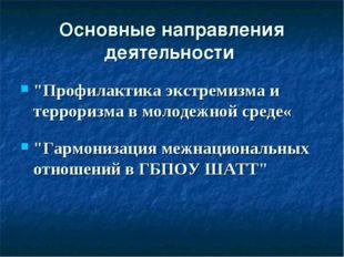 """Основные направления деятельности """"Профилактика экстремизма и терроризма в мо"""