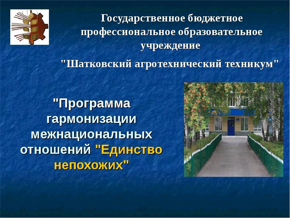 """Государственное бюджетное профессиональное образовательное учреждение """"Шатков..."""