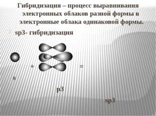 Гибридизация – процесс выравнивания электронных облаков разной формы в элект