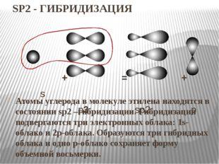SP2 - ГИБРИДИЗАЦИЯ Атомы углерода в молекуле этилена находятся в состоянии sp