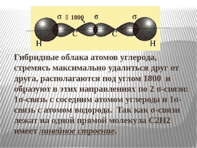 1800 Гибридные облака атомов углерода, стремясь максимально удалиться друг...