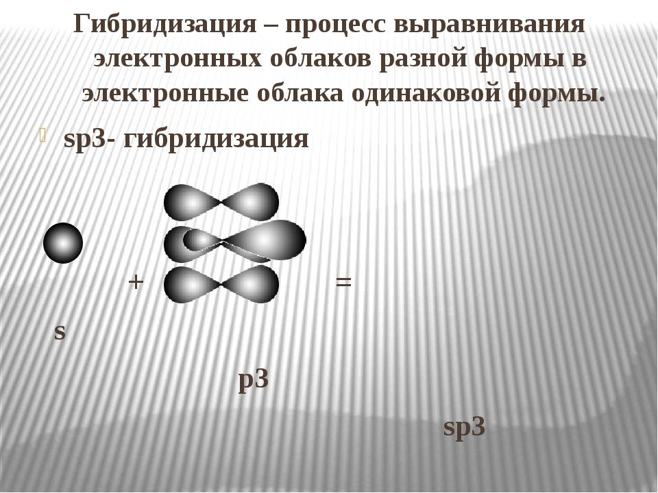 Гибридизация – процесс выравнивания электронных облаков разной формы в элект...