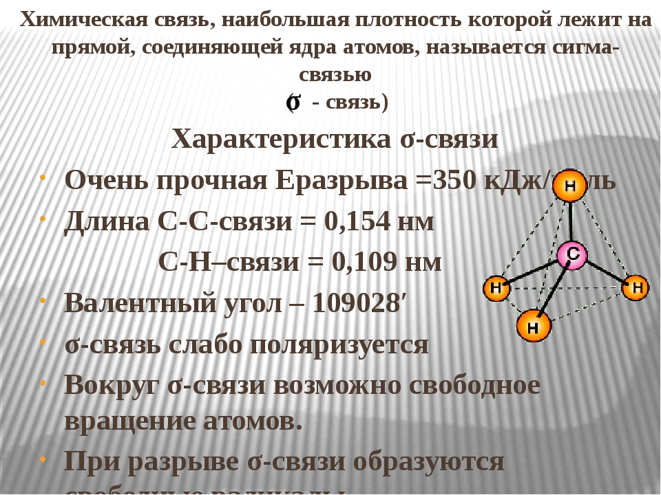 Химическая связь, наибольшая плотность которой лежит на прямой, соединяющей я...