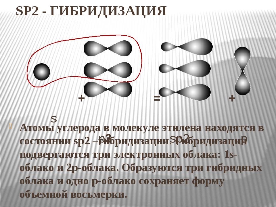 SP2 - ГИБРИДИЗАЦИЯ Атомы углерода в молекуле этилена находятся в состоянии sp...