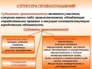 СТРУКТУРА ПРАВООТНОШЕНИЙ Субъектом правоотношения является участник, сторона