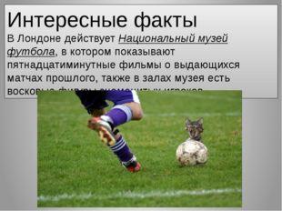 Интересные факты ВЛондонедействуетНациональный музей футбола, в котором по