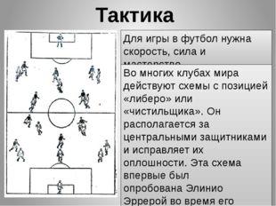 Тактика Для игры в футбол нужна скорость, сила и мастерство. Во многих клуба