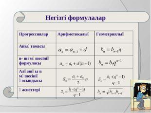 Негізгі формулалар ПрогрессияларАрифметикалықГеометриялық Анықтамасы n-