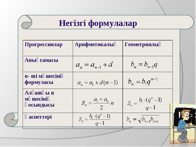 Негізгі формулалар ПрогрессияларАрифметикалықГеометриялық Анықтамасы n-...