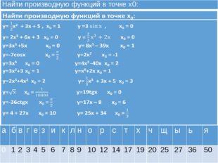 Найти производную функций в точке х0: а б в г е з и к л н о р с т х ч щ ы ь я