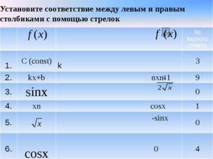 Установите соответствие между левым и правым столбиками с помощью стрелок №