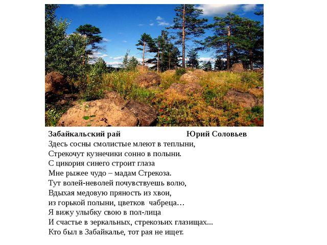 Забайкальский рай Юрий Соловьев Здесь сосны смолистые млеют в теплыни, Стреко...