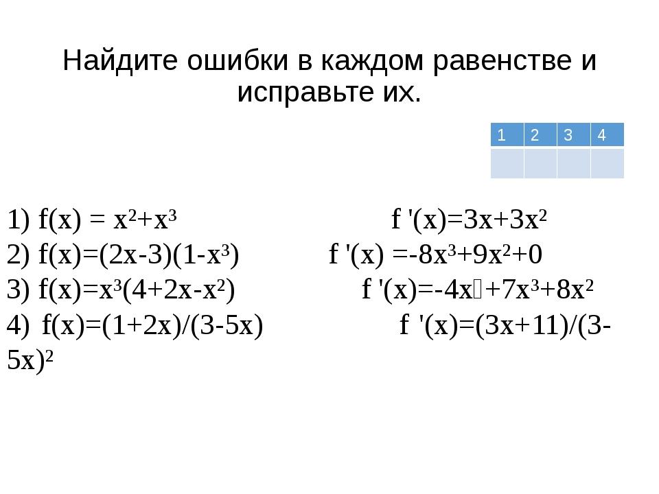 Найдите ошибки в каждом равенстве и исправьте их. 1) f(x) = x²+x³ f '(x)=3x+3...