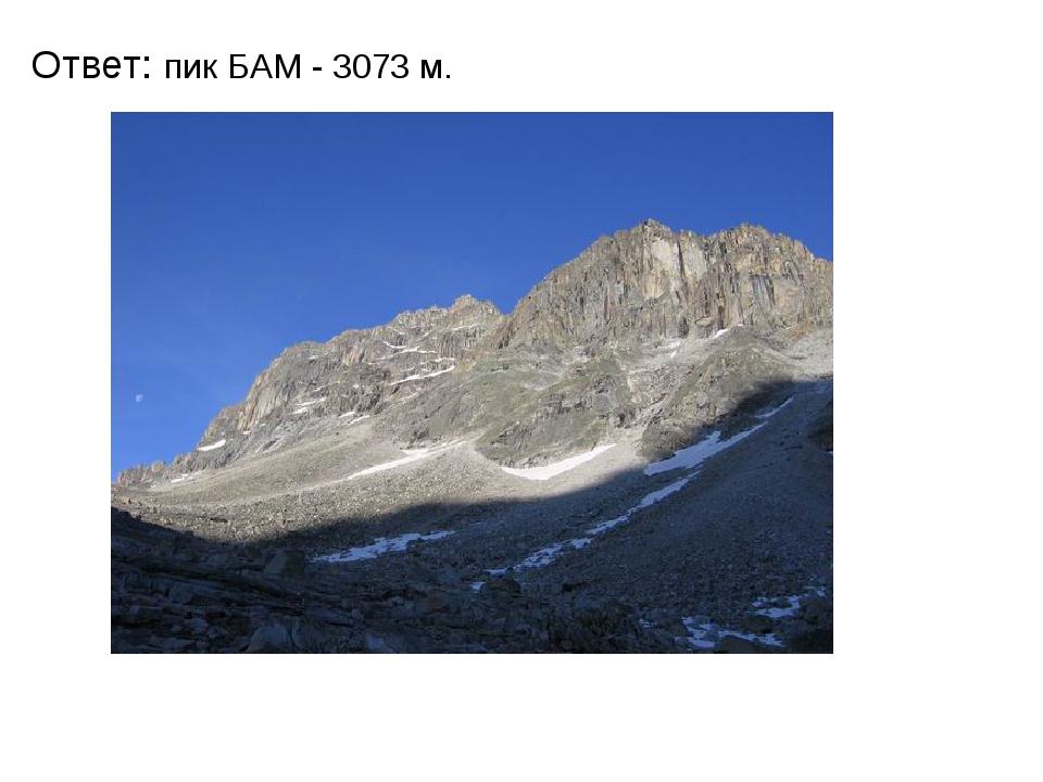 Ответ: пик БАМ - 3073 м. Для сравнения кто знает высоту Алханая? Высота-1662 м
