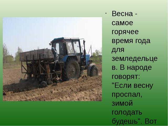 """Весна - самое горячее время года для земледельцев. В народе говорят: """"Если ве..."""