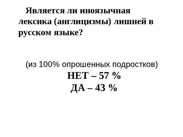 Является ли иноязычная лексика (англицизмы) лишней в русском языке? (из 100%...