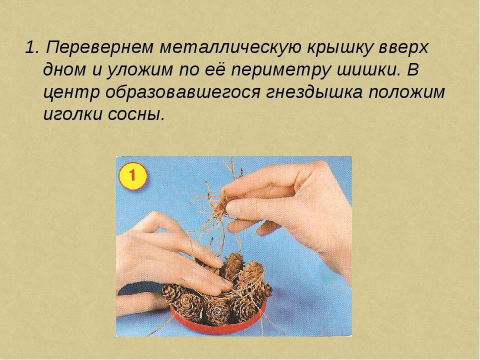 1. Перевернем металлическую крышку вверх дном и уложим по её периметру шишки....