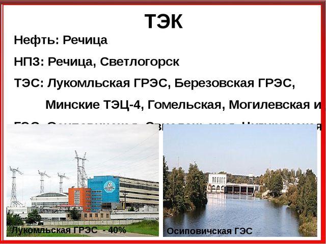 ТЭК Нефть: Речица НПЗ: Речица, Светлогорск ТЭС: Лукомльская ГРЭС, Березовская...